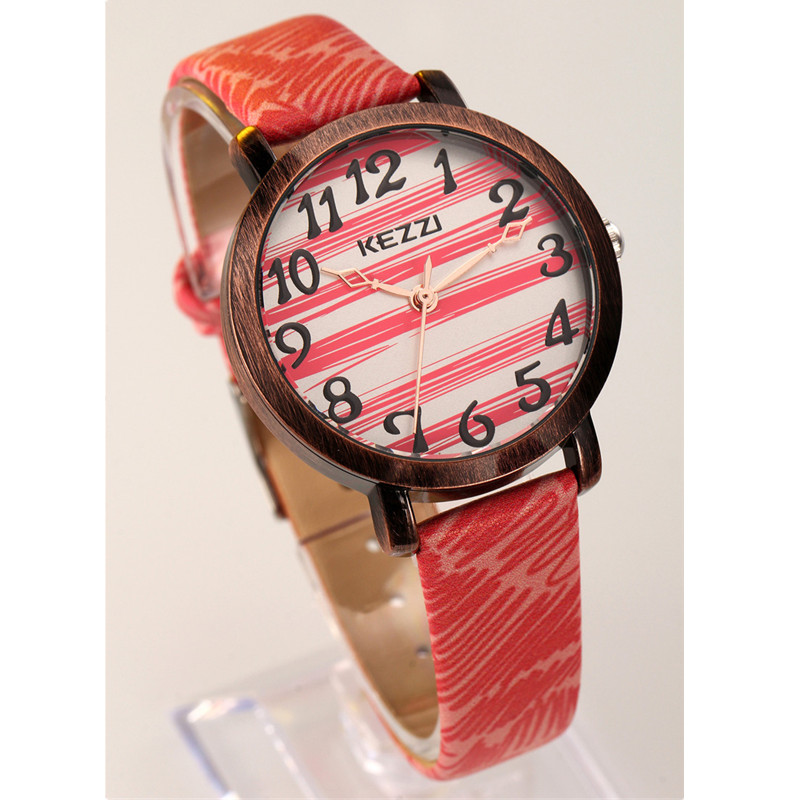 Hot sale KEZZI students watch children fashion casual watch boys girls wrist watches 4 colors leather strap striated dial k1050
