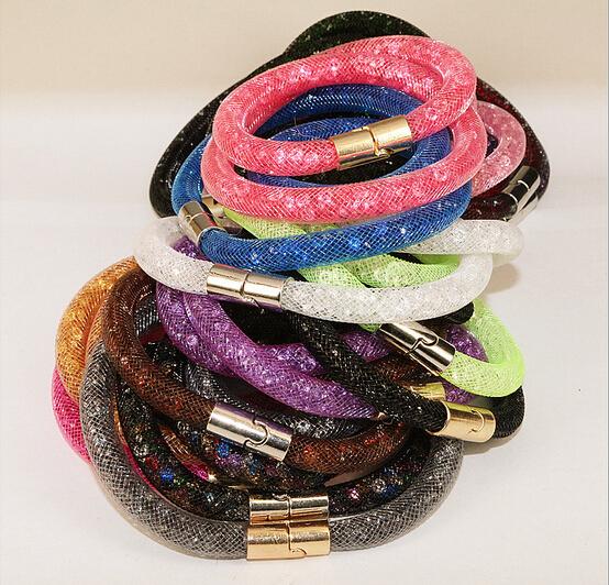 100pcs/lot Double Stardust Bracelet 40cm full resin crystal bracelets inside magnetic wrap bracelet charm bracelet Bangles<br><br>Aliexpress