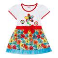 novatx H4371 kids false two pieces girl dress summer cartoon character cute dresses children s clothes