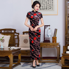 Free shipping floral print Long Qipao traditional chinese cheongsam dress qipao oriental dresses chinese style dress 285