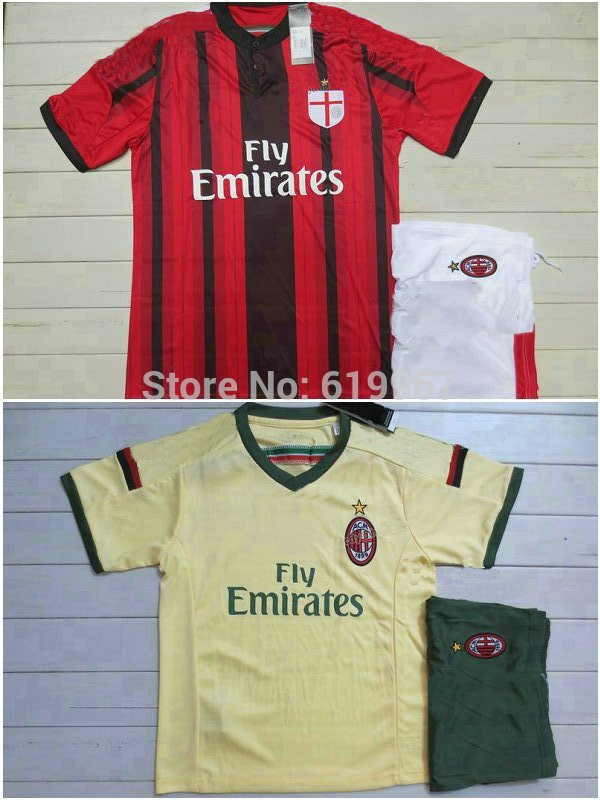 Customize! 2014/15 AC Milan home away kids soccer football jerseys kits, children soccer uniforms shirt free shipping(China (Mainland))