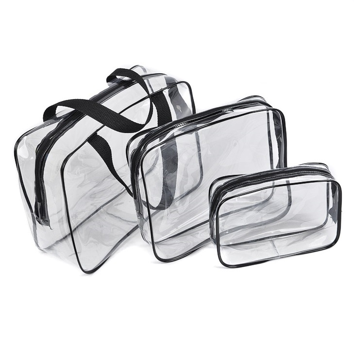 3pcs new PVC multi-function receive toiletry package transparent zipper Cosmetic portable waterproof makeup tool storage bag(China (Mainland))