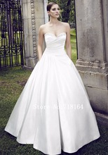 Simple white ivory pink satin wedding dresses long tail 2016 cheap price bridal dresses made in China vestidos de noivas(China (Mainland))