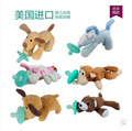 Newborn silicone funny baby pacifier clips chain wubbanub animal pacifier with plush toy soother nipple dog