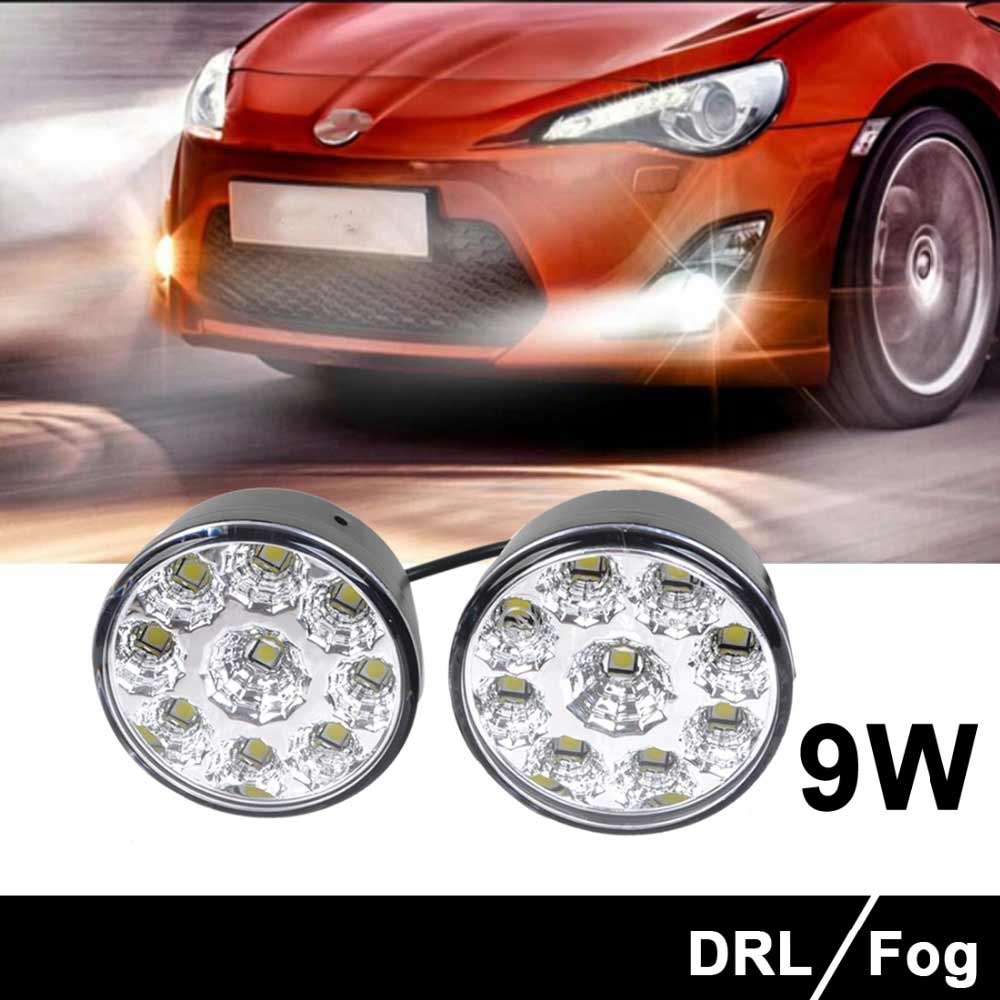 2Pcs White Discount 9 LED Round Daytime Driving Running Light DRL Car Fog Lamp Bright LED Waterproof Daytime Running Light(China (Mainland))