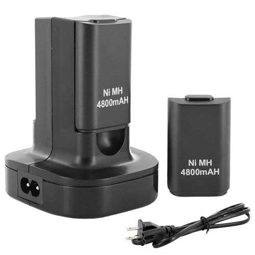New TOP High Quality Dual Charger Dock + 2 Rechargeable Battery 4800mAh for Xbox 360 Controller(China (Mainland))