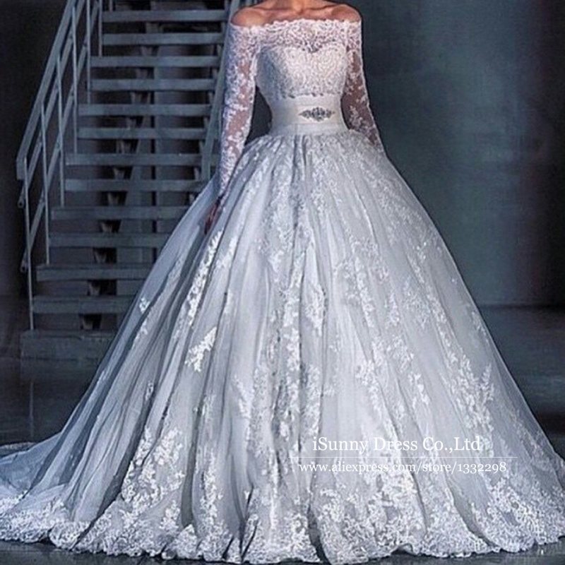 Off The Shoulder Long Sleeve Ball Gown Wedding Dresses 2016 Lace Applique Puf