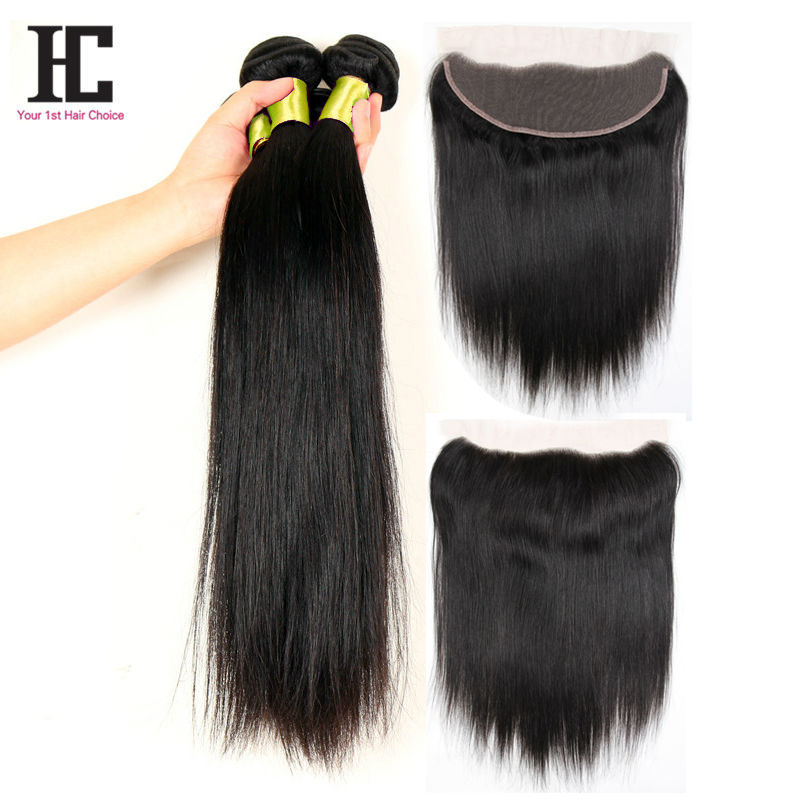 7A Brazilian Virgin Hair Straight With Closure 13x4 Lace Frontal With Bundles 3 Bundles Straight Human Hair With Closure HC<br><br>Aliexpress