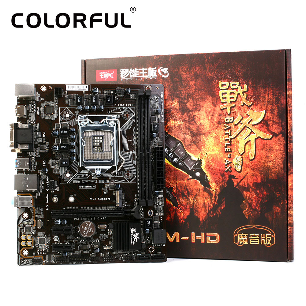 Colorful Motherboard Battle AXE C.B150M-HD V20 for Intel B150 LGA 1151 Socket SATA 6Gb/s USB 3.0 DDR4 mATX Desktop PC Mainboard(China (Mainland))