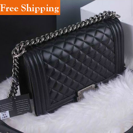 100% Sheepskin Handbag Le Boy Plaid Vintage Chain Bag Leboy Cc Chain Logo Shoulder Bag Hot 2014 Celebrity Women'S High Quality(China (Mainland))