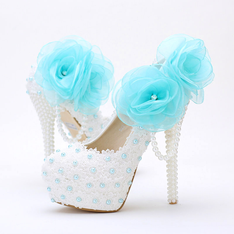 2016 New sweet handmade white pearls wedding Shoes sky blue lace appliques Bridal dresses Shoes round Toe Prom party high heels(China (Mainland))