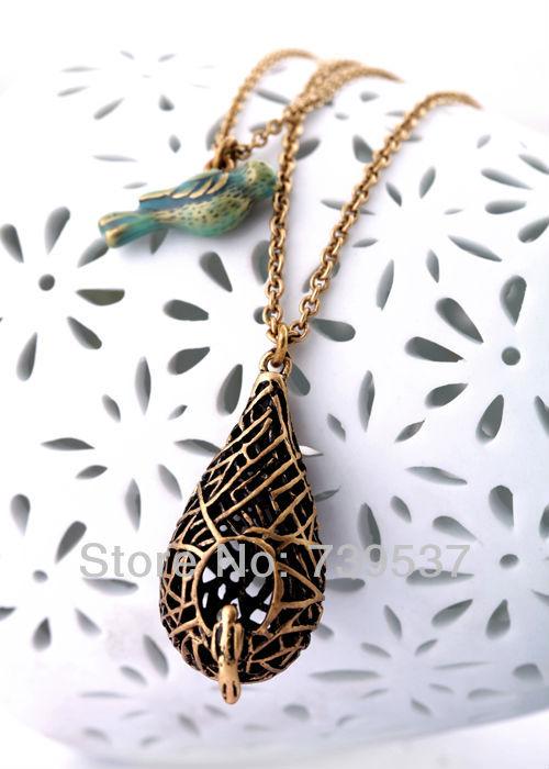 Fashion Jewelry Bird Nest Double Pendant Necklace