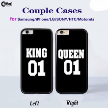 King Queen 01 Brand Couple Case mobile Phone Cases Cover for iphone 4 5s 5c 6 6s 6plus 6splus Samsung galaxy s3 s4 s5 s6 s7 edge