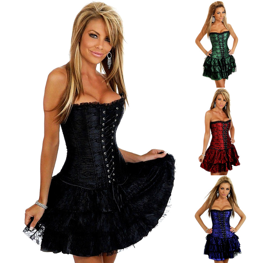 New Fashion Women Sexy Lace Up Overbust Corsets Strapless Steel Boned Bustiers Floral Print(China (Mainland))