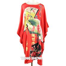 Vintage Blue Chinese Women Silk Rayon Robe Sexy Sleepwear Kimono Bath Gown Loose Lounge Nightdress Plus Size 6XL S014-K(China (Mainland))