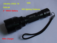 UltraFire 10W 1200LM CREE T6 Led Tactical Flashlight Torch Bike light High brightness Long irradiation+3*18650 battery+charger