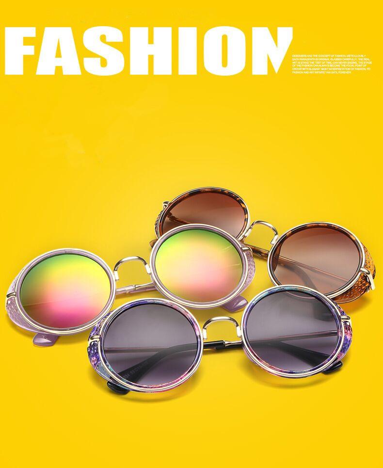 Luxury Metal Sunglasses women Round Sunglass Steampunk Mirror Glasses Vintage Retro Outdoor Lentes Oculos of Female Sun 2016