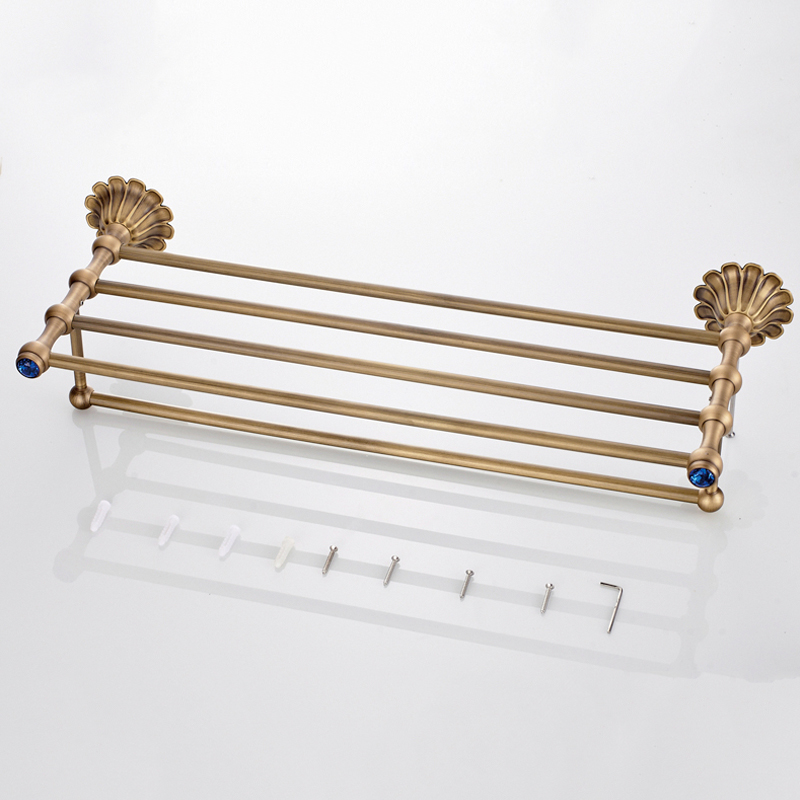2016 Wall Mounted Solid Copper Towel Rack European Style Shelves Bathroom Holder Antique Brass Bath Hardware Accessory F603 Z40(China (Mainland))