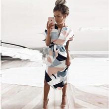Buy Summer Style Dress 2017 Casual Asymmetrical Geometric Printing Short Sash Knee-Length Dress V-Neck Elegant Women Dresses clothes for $11.22 in AliExpress store