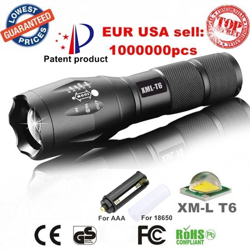 USA EU Hot E17 XM-L T6 3800LM Aluminum Waterproof Zoomable CREE LED Flashlight Torch light for 18650 Rechargeable or AAA Battery(China (Mainland))