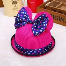 Factory Direct Summer new arrival fashion cheap baby boy girl cute dot bow sun caps paper straw sun Bucket hat free shipping(China (Mainland))