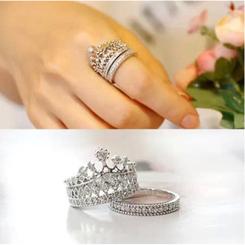 2015 Fashion Women Crystal Silver Crown Ring Cut Queen Rings Copper Party Engagement set  -  joyme factory jewelry Store store