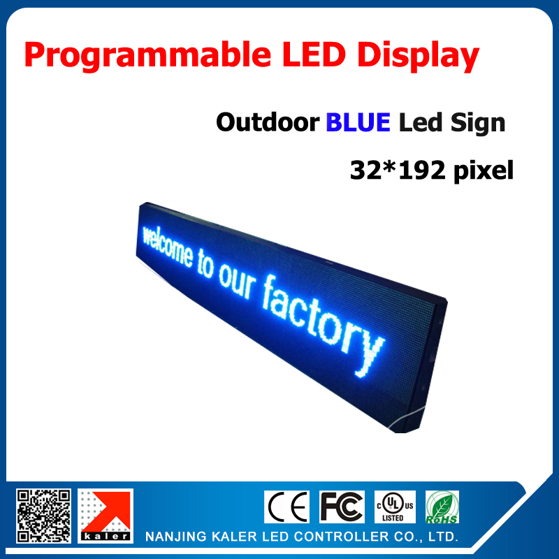 P10 outdoor single color blue led display screen board programmable and scrolling message led sign and size 40*200cm(China (Mainland))