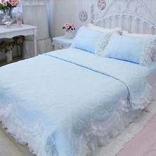 Luxury princess pink blue white purple yellow beding sets,full queen ruffles lace bedclothes bed skirts pillow case quilt cover(China (Mainland))