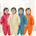 Baby Rompers Winter Thick Cotton Solid Boys Costume Girls Warm Clothes Kids Hooded Jumpsuit Children Outerwear