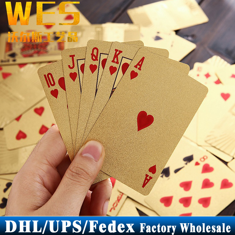 DHL Fedex UPS 200Sets 24K Gold Foil Poker Set Euro 100 Style Plastic Casino Playing Cards Pokerstars Card Game(China (Mainland))