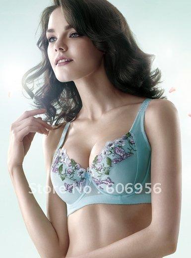 Free shipping wholesale 1pc/lot Guaranteed100%, polyamide spen plus size bra,Fresh Embroidery Plunge Uplift bra( nude,blue)(China (Mainland))