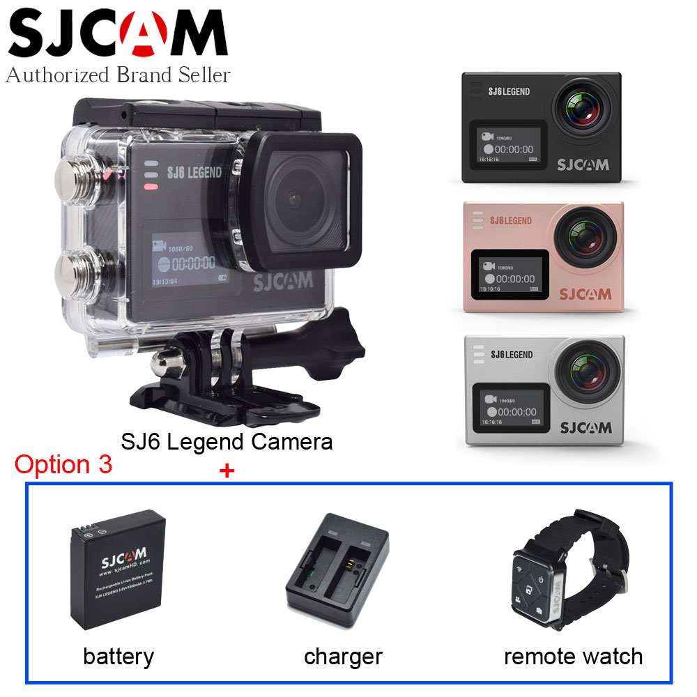 SJCAM SJ6 Legend 4K WiFi Action Video Camera Gyro Waterproof 2.0 Touch LCD Sport Camcorder DV+Extra Battery+Charger+Remote Watch(China (Mainland))