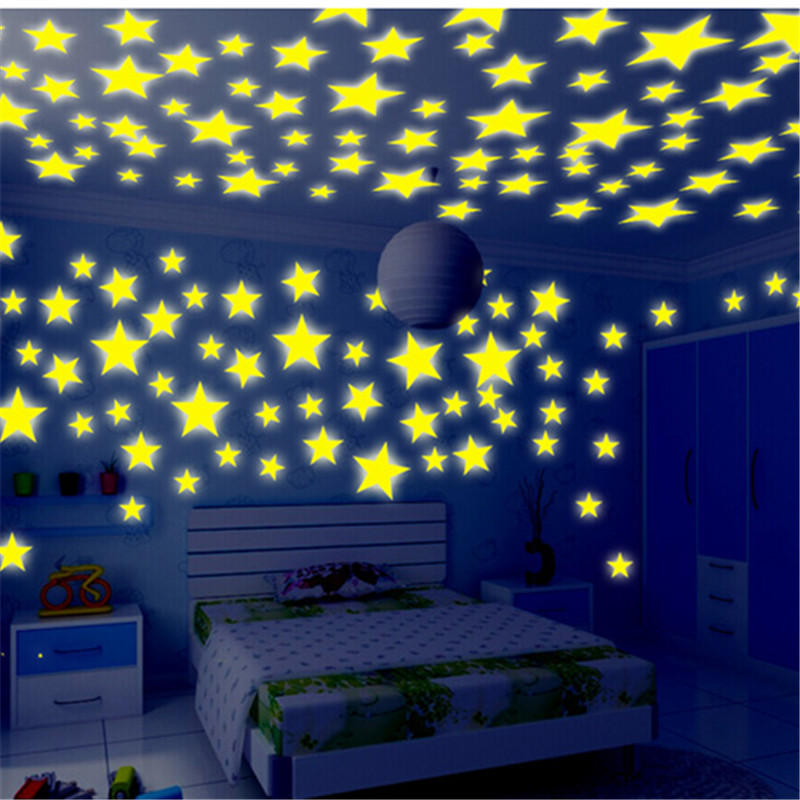 100ps fluorescent luminous stickers 3cm Star stickers baby bedroom fluorescent luminous sticker Christmas gift toys for children