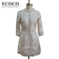 Original Quality Runway Vintage Casual Solid Sleeve Above Knee Hollow Slim Elegant Lace Summer Short Dress