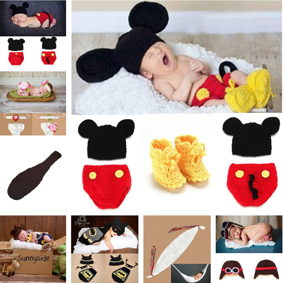 Mickey Designs Crochet Baby Hats Photo Props Infant Costume Outfits Newborn Crochet Beanies&pants&shoes Clothes 1set MZS-14016(China (Mainland))