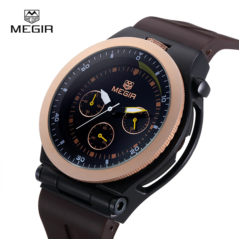 Clock Man Watch Sport Mens designer Watches Luxury Watch Men Famous Brand Silicone Casual Male Multi Function Quartz-Watch MEGIR(China (Mainland))
