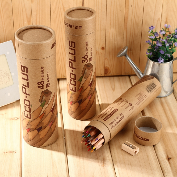 Marco marco 6100 - 24 36 48 logs wood eco-friendly colored pencil paper tube child doodle color