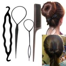 4pcs/set New Fashion Magic Braiders Hair Twist Styling Clip Stick Bun Maker Braid Tools Black Barrette Hair Accessories(China (Mainland))