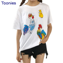 Buy Women T-shirt Funny Harajuku Style Summer New Loose Cotton Chicken Printed Shirt BF Wind Short Sleeve White T Shirts Womens Top for $5.95 in AliExpress store