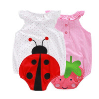 2 Pcs/lot! 2016 Cotton Bebe Nina's Summer One-piece Animal Ladybird Costumes Bodysuits for Infantil Twins, Baby Animal Clothes