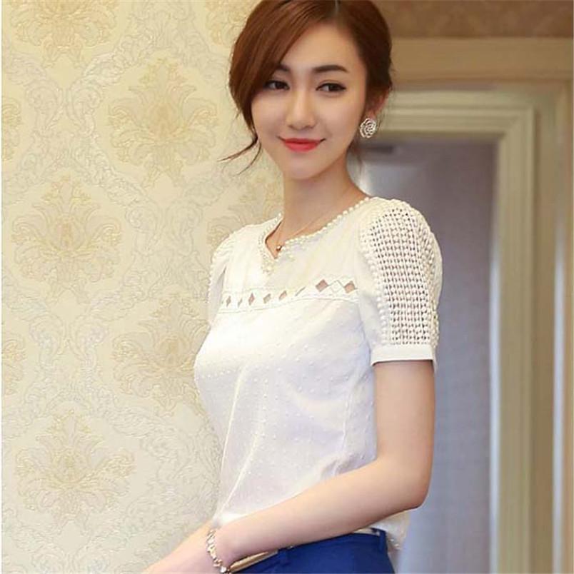 Novel HOT SELL design Women Chiffon Casual Tops Blouse 1PC Lady Women Lace Short Sleeve Shirt V Neck Doll Chiffon Blouse