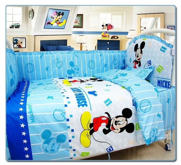 Фотография Promotion! 10PCS Mickey Mouse cartoon baby environment-friendly printing baby crib bedding set (bumper+matress+pillow+duvet)