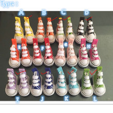 Wholesale 1200 Pairs/Lot  Assorted Colors Canvas Shoes For BJD Doll,3.5 CM Mini Toy Shoes 1/6 Bjd Shoes for Doll Accessories(China (Mainland))