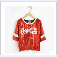 2015 New Arrival t shirt Women sequins Letter printed Loose Plus Size Sequin  T shirt Tops For Women summer Style Clothes