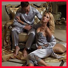couple pajama sets silk pajamas robe onesie pijama men pajamas for women embroidery quality sleepwear plus size Free shipping(China (Mainland))