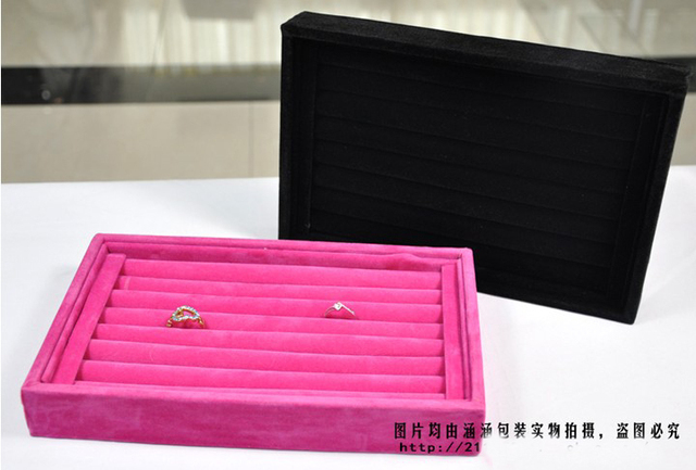 Free Shipping Wholesale black/rose red/red 3color Jewelry Rings Display Show Case Organizer Tray Box