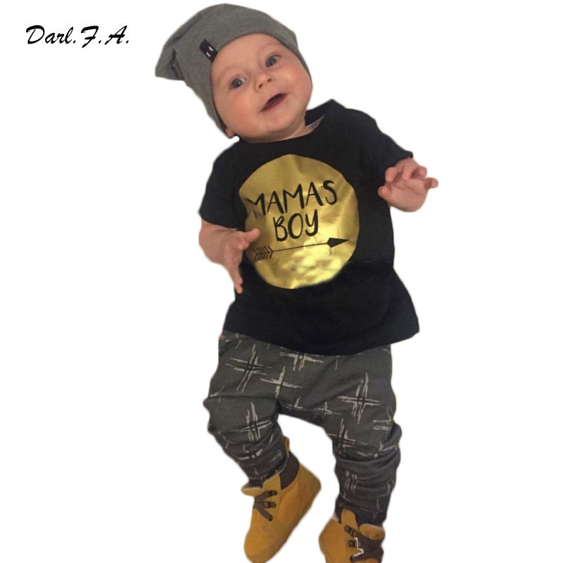 2016 New Baby Boy Clothes Sets Summer Spring T Shirt + Pants 2 Pcs Infants Clothes Letter Printed Girls Newborn Clothing Sets(China (Mainland))