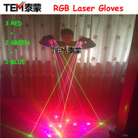 New arrived RGB Laser Gloves With 7pcs Laser 2pcs Green +3PCS Red +2PCS Violet Blue Stage Gloves for DJ Club Party Show