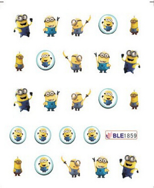 1 Sheet Cute Yellow Cartoon DIY Water Transfer Nail Art Stickers Decals Nail Tips Decoration Tool for women BLE1859(China (Mainland))
