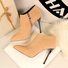 2019 herbst Spitz Metall Ferse Mode Damen Stiefeletten High Heels Schuhe Frauen Solide Flock Seite Zipper Prägnanten Kurzen stiefel(China)